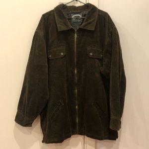 90's dark brown mens padded corduroy zip up jacket